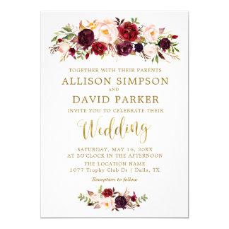 Herbst Marsala Blumengoldelegante Hochzeits-Karte Karte