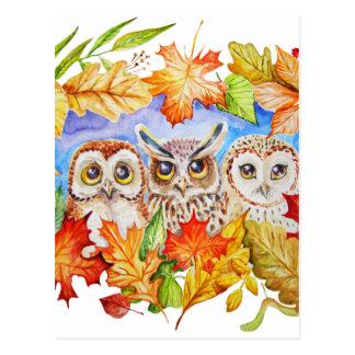 Herbst mit drei Eulen Postkarte