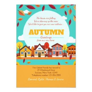 Herbst-Nachbarschafts-bewegliche Mitteilung 12,7 X 17,8 Cm Einladungskarte