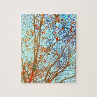 Herbst-Orangen-Blätter und blauer Himmel Puzzle