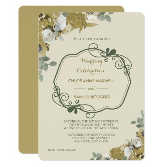 Herbst-Rosen im Gold und in der aquamarinen 12,7 X 17,8 Cm Einladungskarte