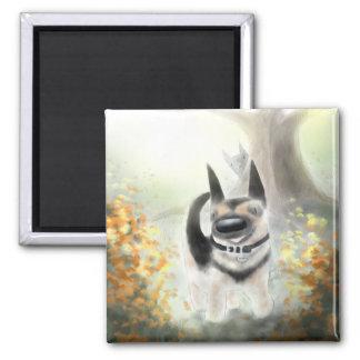 Herbst-Schäferhund-Welpen-(und Katze) Magnet Quadratischer Magnet