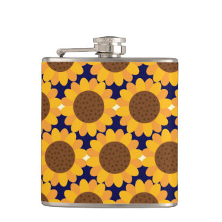 Herbst-Sonnenblume-Muster Flachmann