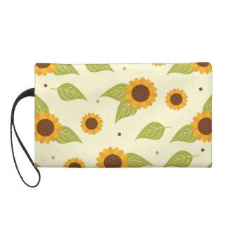 Herbst-Sonnenblume-Muster Wristlet Handtasche
