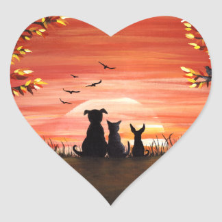 Herbst-Sonnenuntergang-Hunde-und Katzen-Fall Herz-Aufkleber