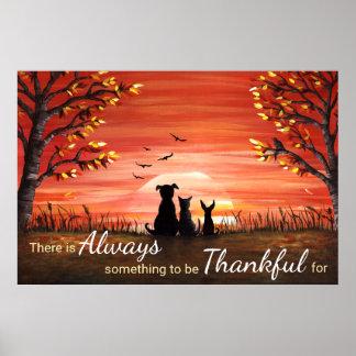 Herbst-Sonnenuntergang immer dankbar Poster