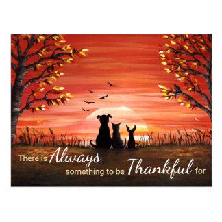 Herbst-Sonnenuntergang immer dankbar Postkarte