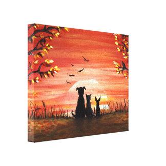 Herbst-Sonnenuntergang Leinwanddruck