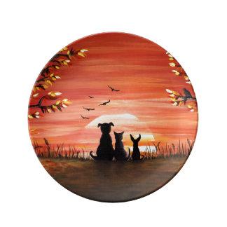 Herbst-Sonnenuntergang Porzellanteller