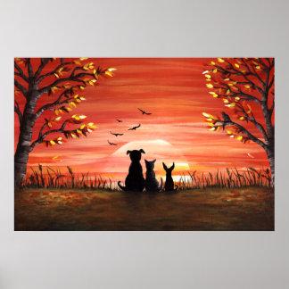 Herbst-Sonnenuntergang Poster