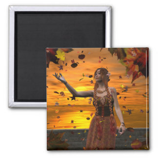 Herbst-Sonnenuntergang Quadratischer Magnet
