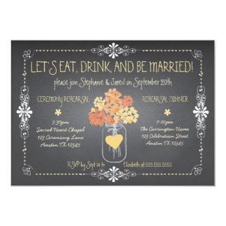 Herbst-Tafel-Hochzeits-Proben-Maurer-Glas 12,7 X 17,8 Cm Einladungskarte