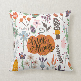 Herbst u. Laub mit dem Geben von Dank-Typografie Kissen