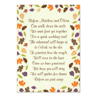 Herbst verlässt 11,4 x 15,9 cm einladungskarte