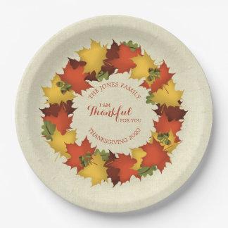 Herbst verlässt ErntedankWreath Pappteller