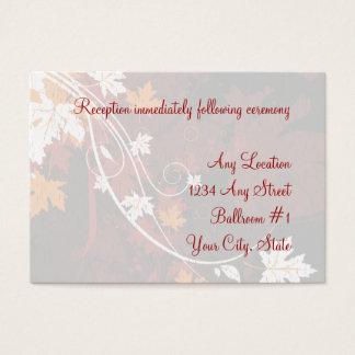 Herbst verlässt Hochzeits-Empfangs-Karten Visitenkarte
