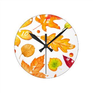 Herbst verlässt Muster Runde Wanduhr