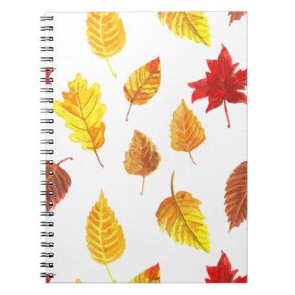 Herbst verlässt Muster Spiral Notizblock