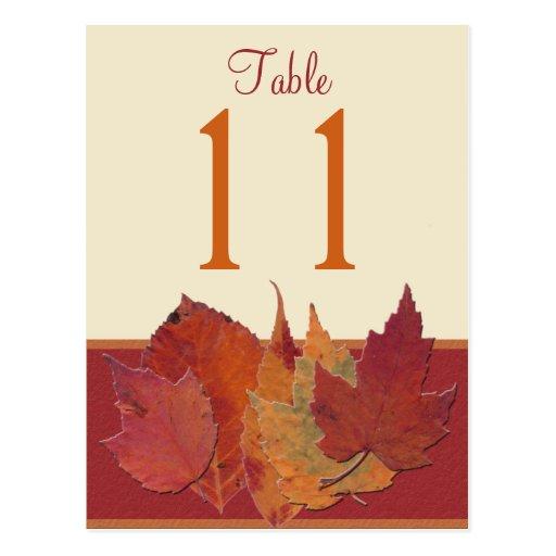 Herbst verlässt Postkarte der Tischnummer-II