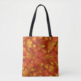 Herbst verlässt Teppich Tasche