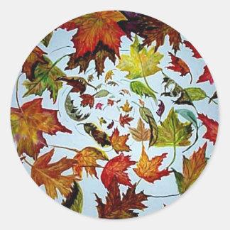 Herbst verlässt Turbulenz-Kunst Runder Aufkleber