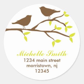 Herbst-Vogel-Adressen-Etiketten Runder Aufkleber