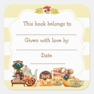 Herbst-Waldbaby-Duschen-Buchzeichenaufkleber Quadratischer Aufkleber