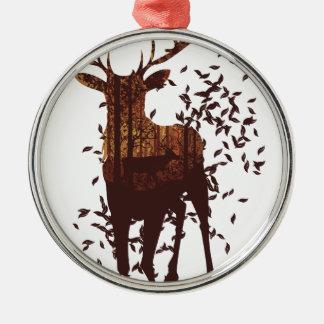 Herbst-Waldlandschaft und -rotwild Silbernes Ornament