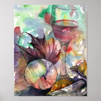 Herbst-Wein-Glas-Stillleben Poster
