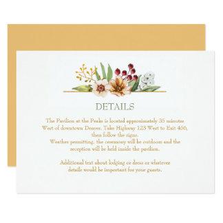 Herbst-Wildblumenwatercolor-Hochzeits-Gold Karte