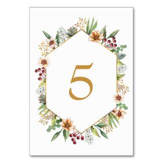 Herbst-Wildblumewatercolor-Hochzeits-Gold Karte