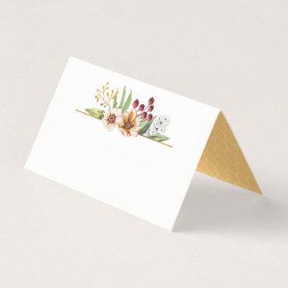 Herbst-Wildblumewatercolor-Hochzeits-Gold Platzkarte