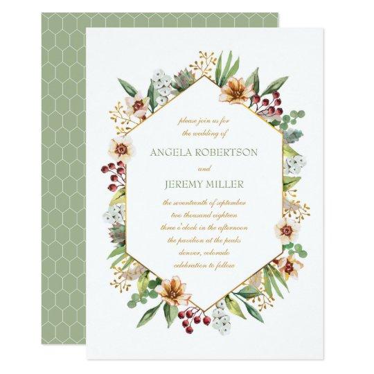 Herbst-Wildblumewatercolor-Hochzeits-Salbei 12,7 X 17,8 Cm Einladungskarte