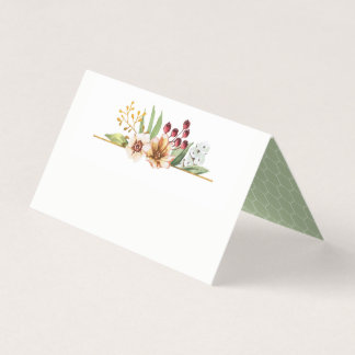 Herbst-Wildblumewatercolor-Hochzeits-Salbei Platzkarte