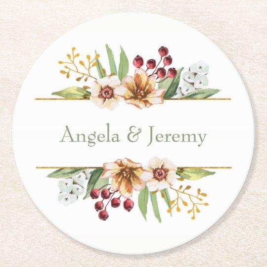 Herbst-Wildblumewatercolor-Hochzeits-Salbei Runder Pappuntersetzer