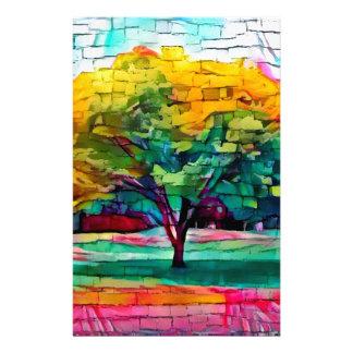 Herbstbaum in den klaren Farben Briefpapier