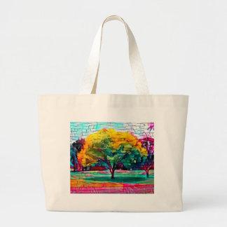 Herbstbaum in den klaren Farben Jumbo Stoffbeutel