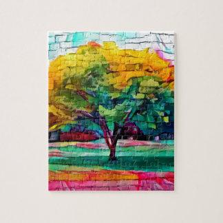 Herbstbaum in den klaren Farben Puzzle
