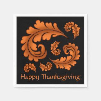 Herbstdamast-Blätter auf schwarzem glücklichem Papierserviette