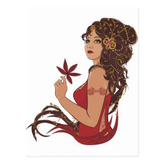 Herbstdame Postkarte