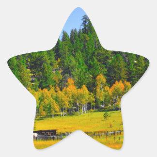 Herbstfarben in den Rockies Stern-Aufkleber