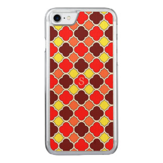 Herbstfarben-rotes orange Gelb Quatrefoil Carved iPhone 8/7 Hülle