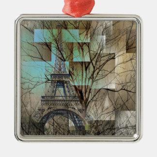 HerbstlandschaftsBaumast-Paris-Eiffelturm Silbernes Ornament