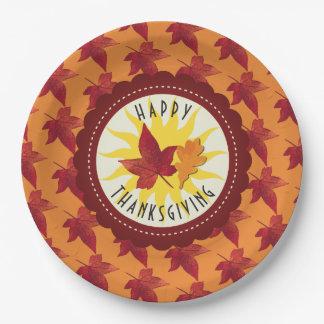 Herbstlaub-Ahorn-Erntedank Pappteller