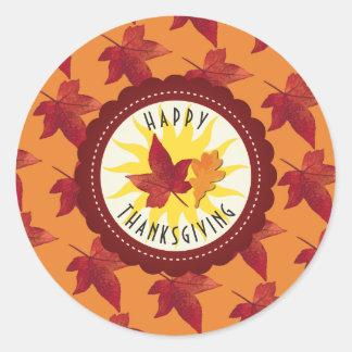 Herbstlaub-Ahorn-Erntedank Runder Aufkleber