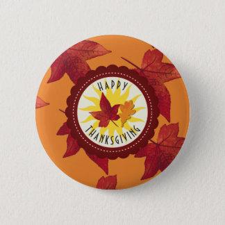 Herbstlaub-Ahorn-Erntedank Runder Button 5,7 Cm