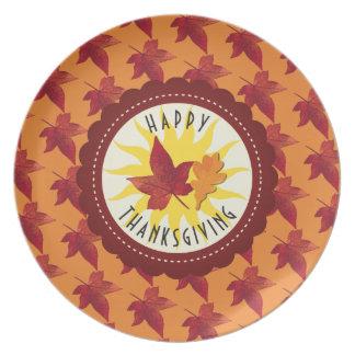 Herbstlaub-Ahorn-Erntedank Teller