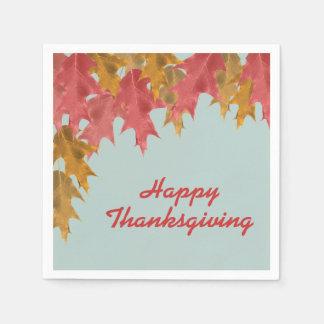 Herbstlaub auf aquamarinem, glücklichem Erntedank Papierserviette