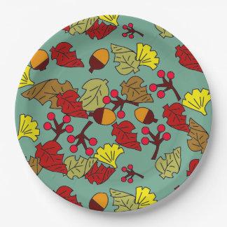Herbstlaub, Eicheln und Beeren-Gewohnheits-Farbe Pappteller