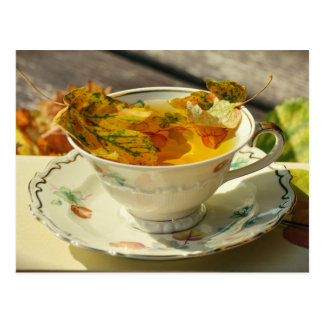 Herbstlaub-englische Tee-Herbst-Hütten-Postkarte Postkarte